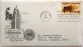 July 29, 1967 First Day of Issue, Artmaster Cover, Nebraska Statehood  #28 - $2.74