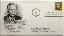 October 24, 1967 First Day of Issue, Artmaster Cover, George C. Marshall... - $2.74