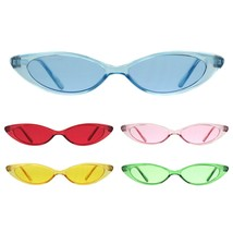 Girls Kid Size Narrow Oval Cat Eye Hippie Color Lens Plastic Sunglasses - $9.95