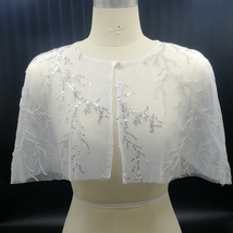 White Lace Bridal Wraps Cover-Ups Embroidery Lace Wedding Sequin Shawl Wrap Cape image 1