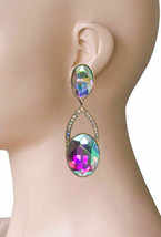 """3"""" Long Clip On Earrings, Royal Blue Glass Crystals Drag Queen, Pageant, Bridal - $17.05"""