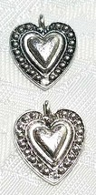 HEART Beaded Border Design FINE PEWTER PENDANT CHARM 15x18x2.5mm