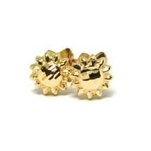 18K YELLOW GOLD KIDS EARRINGS, FINELY WORKED HAMMERED MINI SUN, 0.3 INCHES   image 2
