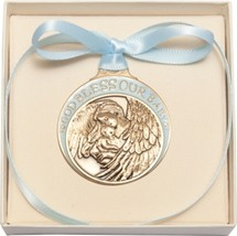 Crib Medal - Gold Finish Baby w/Angel with Blue Ribbon