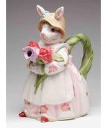 ROSY RABBITS TEAPOT Porcelain Figurine Collectible Tea Pot Bunny Lee Fit... - $56.95