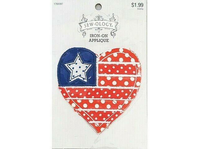 Hobby Lobby Sew-ology Iron-on Applique, Patriotic Heart  #1769397