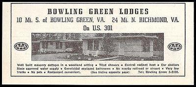 Bowling Green Lodges Ad Bowling Green Virginia 1953 Roadside Photo Ad Travel