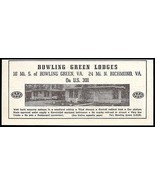 Bowling Green Lodges Ad Bowling Green Virginia 1953 Roadside Photo Ad Tr... - $10.99