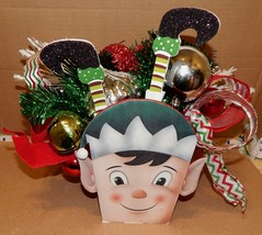 "Christmas Happy Elf Table Centerpiece Picks Ornaments Ribbon 14"" x16"" x1... - $19.49"