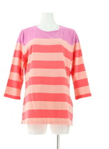 Isaac Mizrahi Scoop Neck 3/4 Slv Striped Knit Tunic Passion Fruit L NEW ... - $26.71