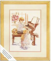 """Simplicity Chopsticks Piano Lesson Siblings Counted Cross Stitch Kit 9"""" ... - $18.99"""