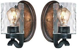 Westinghouse Barnwell One-Light Indoor Wall Fixture, Textured Iron and Barnwood  - $91.55