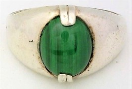Malachite Cast Sterling Silver Ring 1 Sz 9 - $19.99