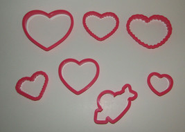 Hearts Cookie Cutters Set of 7 Love Valentines Day Arrow Wilton Plastic  - $6.92