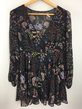 Kimchi Blue Tunic Top Size 2 Floral Semi Sheer Lined Blouse Shirt HH35 - $10.45
