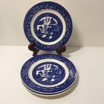 """3 Desert Plates Blue Willow Homer Laughlin 7.25"""" D49N6 - $17.41"""