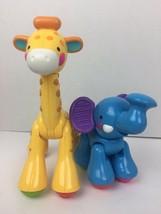 Fisher-Price Amazing Animals Click Joint Jungle Zoo Elephant & Giraffe Pair - $14.79