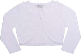 Bonnie Jean Little Girl 2T-4T White Pearl Embellished Knit Bolero Cardigan Sweat