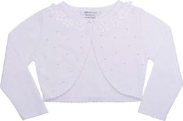 Bonnie Jean Little Girl 2T-4T White Pearl Embellished Knit Bolero Cardigan Sweat