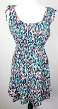 Forever 21 Mini Dress M Sleeveless Lined Ruffled Hem Blue Green Red White - $18.80