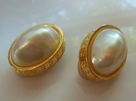 Vintage Stamped FENDI Pearl Clip-On Earrings- Rare - $445.50