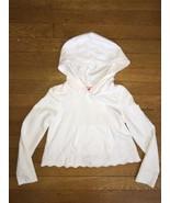 ! basic editions white eyelet cropped hoodie sweat shirt top medium 7 - ... - $5.94