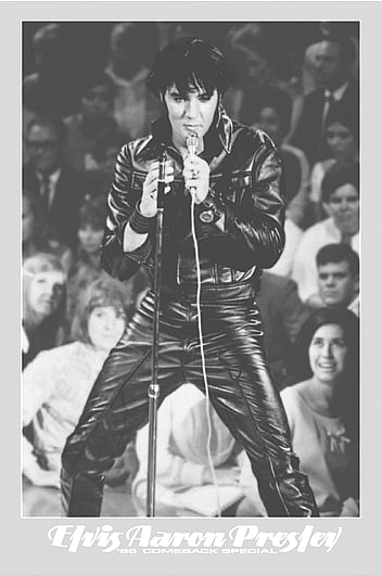 Elvis Presley Poster 24x36 inches '68 Comeback Special Leather Suit RARE