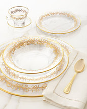 High Class Elegance Vintage Style 24k Gold Scroll Accent Clear Glass Din... - $5,000.00