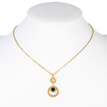 UE-Gold Tone Designer Necklace & Circular Pendant With Jet Black Faux Onyx Inlay - $16.99