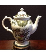 Rare Ridgway Staffordshire Windsor Coffee Pot Green Multi Color With Birds - $150.00