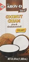 Aroy-D Pure Coconut Cream, 33.8 Fluid Ounce Pack of 3