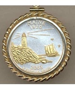 State of Maine, 2-Toned, Gold on Silver, U.S.Quarter Pendant Necklace - $132.00