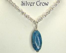 Bright Silver Stainless Steel Chain Turquoise Magnasite Pendant Necklace - $21.99