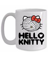 Knitting Mug Knitty Mothers Day Funny Cute Cat Kitty Face Yarn Mom Grand... - $19.55+