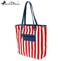 Montana West American Flag Canvas and PU Leather Tote image 2
