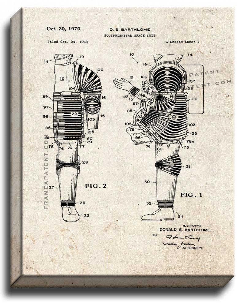 Primary image for Equipotential Space Suit Patent Print Old Look on Canvas
