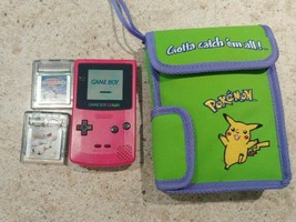 Game Boy Color Pink Bundle with Pokemon case and two games No Battery Cover - $59.35