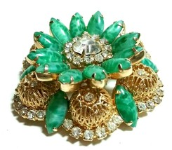 D&E Juliana Vintage Stacked Layered Green Rhinestone Brooch Large Gold Tone Pin - $150.00