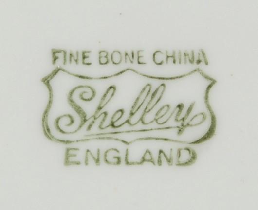 Shelley Hulmes Rose Saucer Dainty Shape Sage Green Rim Used
