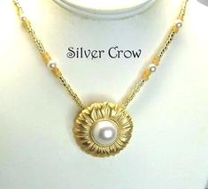 Goldtone & Pearl Flower, Pearl & Gold Seed Bead Necklace  Repurposed vin... - $22.99
