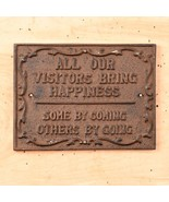 Cast Iron Visitor Sign Plaque Wall Mount Rustic Brown - $11.87