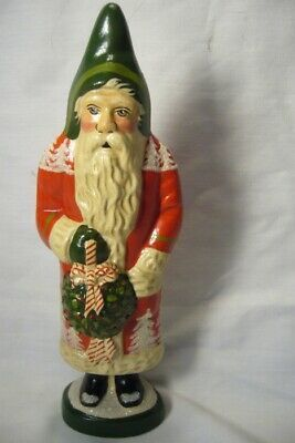 Vaillancourt Folk Art Red Forest Santa with Kissing Ball signed by Judi!