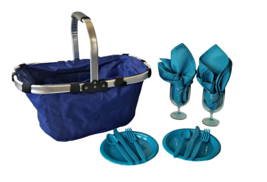 2 Person Picnic Basket Hamper Set w/ Cutlery ~ Plates ~ Napkins ~ Glasses - $1.048,66 MXN