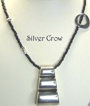 Silvertone, Pewter and Black Seed Bead Necklace  Repurposed Silvertone P... - $15.99