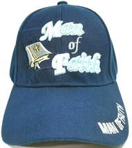 Man Of Faith Mens Religious Embroidered Hat Cap Navy Blue Acrylic Adjust... - $8.90