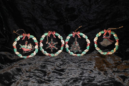 Christmas Russ Berrie Heirloom Collection Colored Metal Wreath Ornaments - set 4 - $29.99