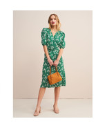 Rouje Green Robe ROSALIE Flower Printed Wrap Midi Dress Tea Dress - $159.00