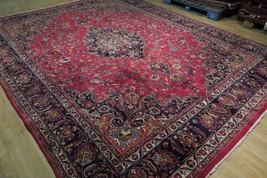 Red Wool Rug 10' x 12' Scarlet Vivid Original Traditional Persian Handmade Rug image 2