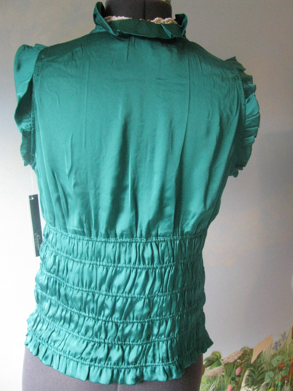 ESSENTIALS BY MILANO GREEN  WOMEN TOP/BLOUSE SZ L NWT RETAIL PRICE $58