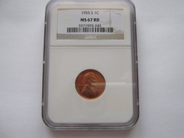 1955-S , Lincoln Penny , NGC , MS 67 RD - $150.00